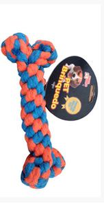 Brinquedo Mordedor Dog Corda Osso Trançada (laranja/azul / Medio)