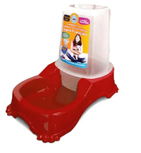 Comedouro ou Bebedouro Automático Dupla Função (vermelho / 1 litro de água e 700 g de ração)