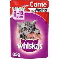Ração Úmida Whiskas Sachê Carne ao Molho para Gatos Filhotes (85 g)